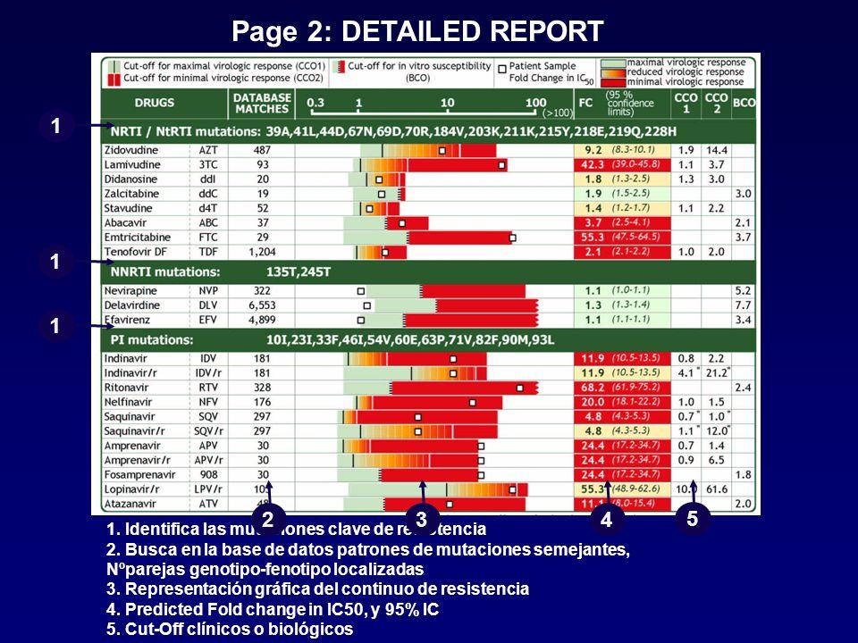 Page 2: DETAILED REPORT 1. Identifica las mutaciones clave de resistencia 2. Busca en la base de datos patrones de mutaciones semejantes, Nºparejas ge