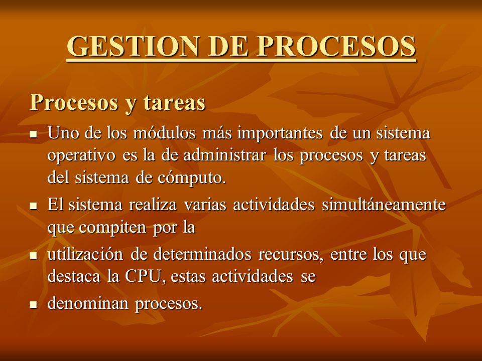 GESTION DE PROCESOS Procesos y tareas Uno de los módulos más importantes de un sistema operativo es la de administrar los procesos y tareas del sistem