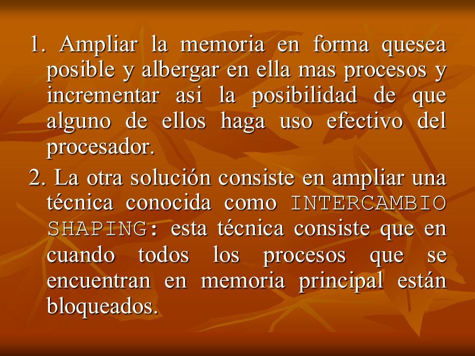 1. Ampliar la memoria en forma quesea posible y albergar en ella mas procesos y incrementar asi la posibilidad de que alguno de ellos haga uso efectiv