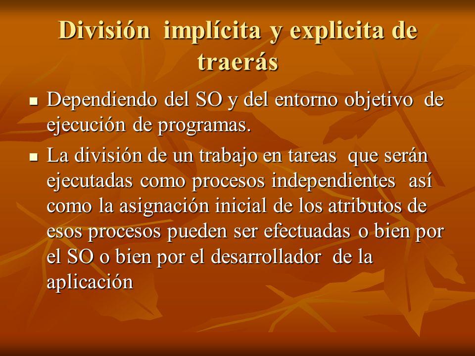 En otras palabras lo que constituirá un proceso independiente En otras palabras lo que constituirá un proceso independiente 1._ División implícita de tareas definida por el sistema 1._ División implícita de tareas definida por el sistema 2._ División explicita de tareas definida por el desarrollador 2._ División explicita de tareas definida por el desarrollador
