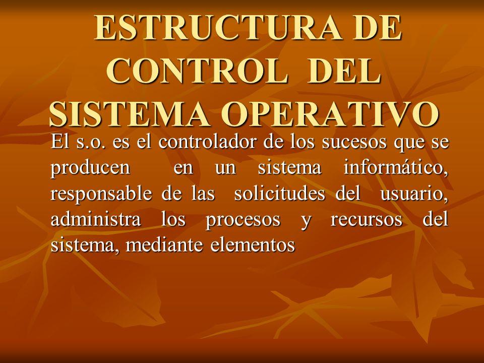 ESTRUCTURA DE CONTROL DEL SISTEMA OPERATIVO ESTRUCTURA DE CONTROL DEL SISTEMA OPERATIVO El s.o. es el controlador de los sucesos que se producen en un