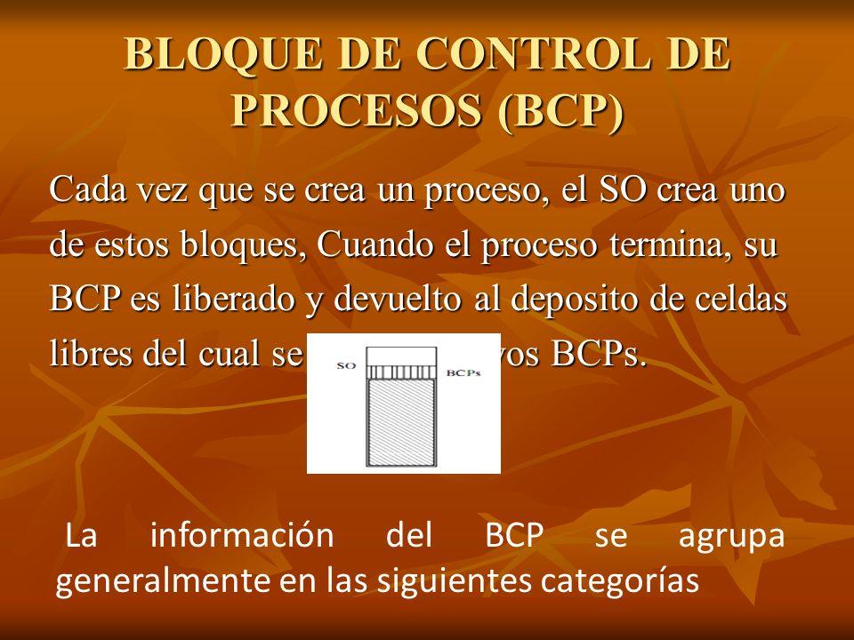 BLOQUE DE CONTROL DE PROCESOS (BCP) Cada vez que se crea un proceso, el SO crea uno de estos bloques, Cuando el proceso termina, su BCP es liberado y