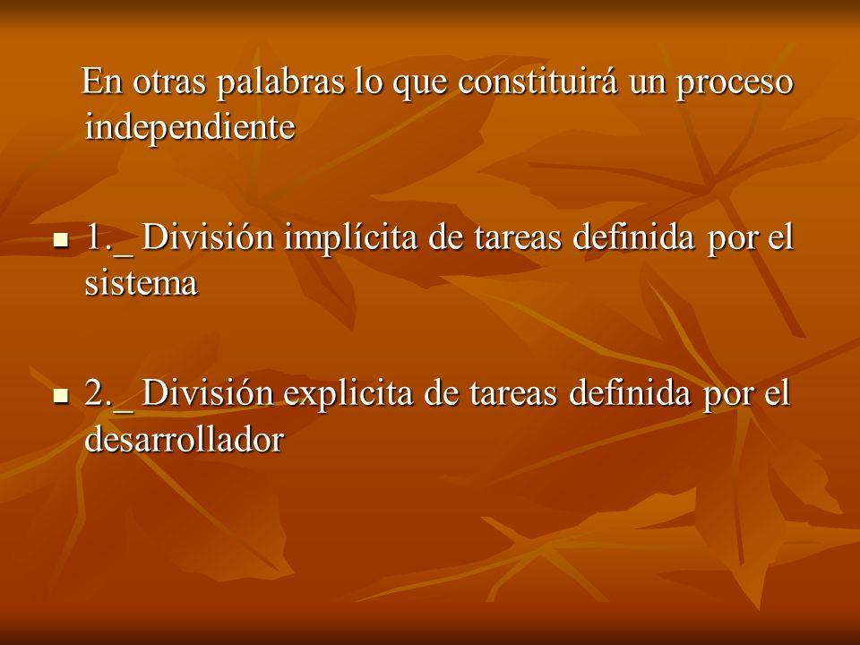 En otras palabras lo que constituirá un proceso independiente En otras palabras lo que constituirá un proceso independiente 1._ División implícita de