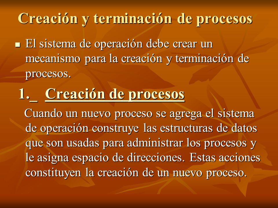 Creación y terminación de procesos El sistema de operación debe crear un mecanismo para la creación y terminación de procesos. El sistema de operación