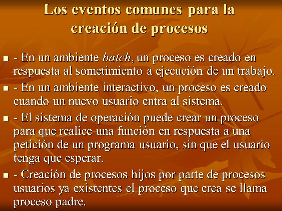 Los eventos comunes para la creación de procesos - En un ambiente batch, un proceso es creado en respuesta al sometimiento a ejecución de un trabajo.