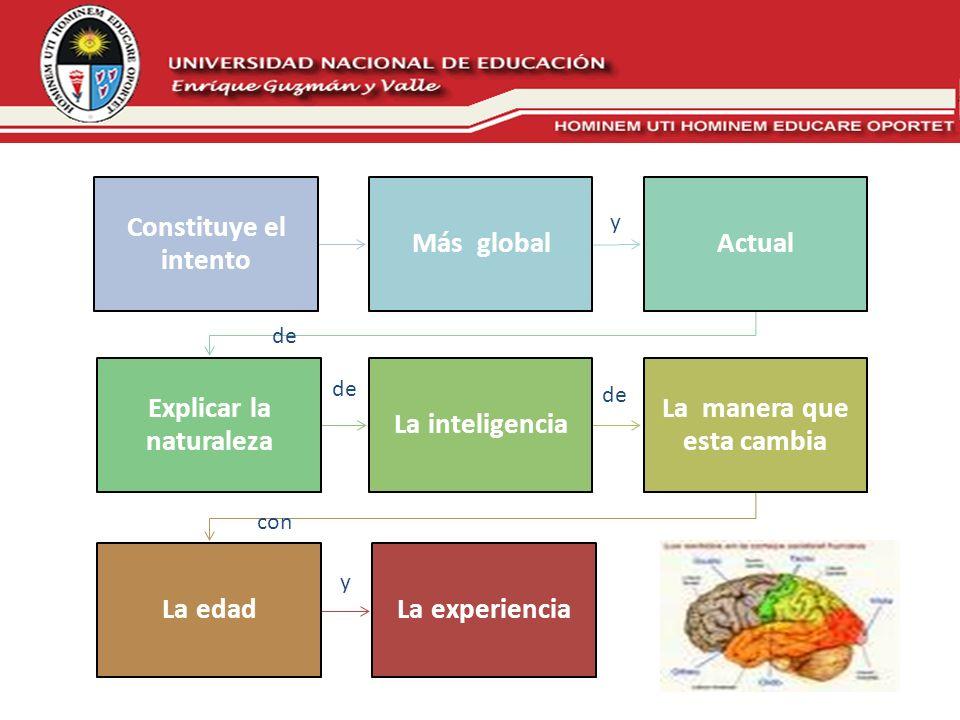 Constituye el intento Más global Actual Explicar la naturaleza La inteligencia La manera que esta cambia La edadLa experiencia y de con y