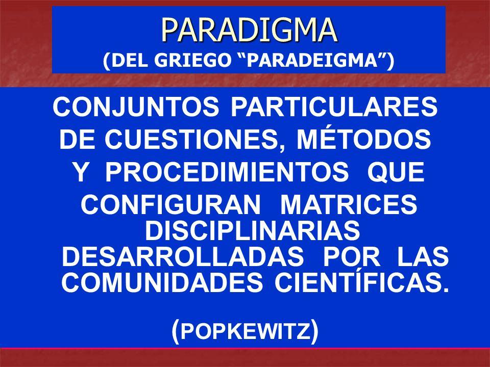CONJUNTOS PARTICULARES DE CUESTIONES, MÉTODOS Y PROCEDIMIENTOS QUE CONFIGURAN MATRICES DISCIPLINARIAS DESARROLLADAS POR LAS COMUNIDADES CIENTÍFICAS. (
