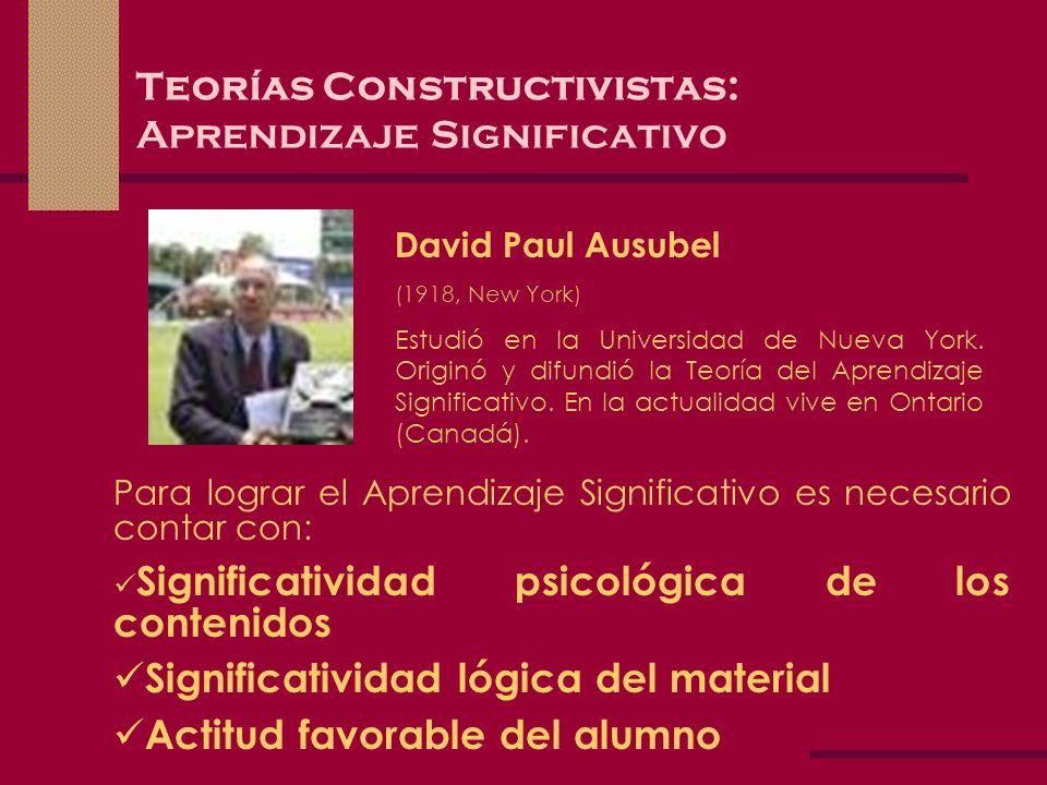 Teorías Constructivistas: Aprendizaje Significativo David Paul Ausubel (1918, New York) Estudió en la Universidad de Nueva York. Originó y difundió la