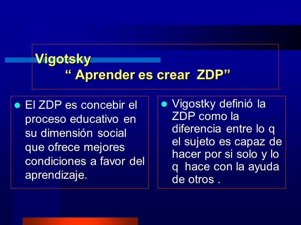 Vigotsky Aprender es crear ZDP El ZDP es concebir el proceso educativo en su dimensión social que ofrece mejores condiciones a favor del aprendizaje.