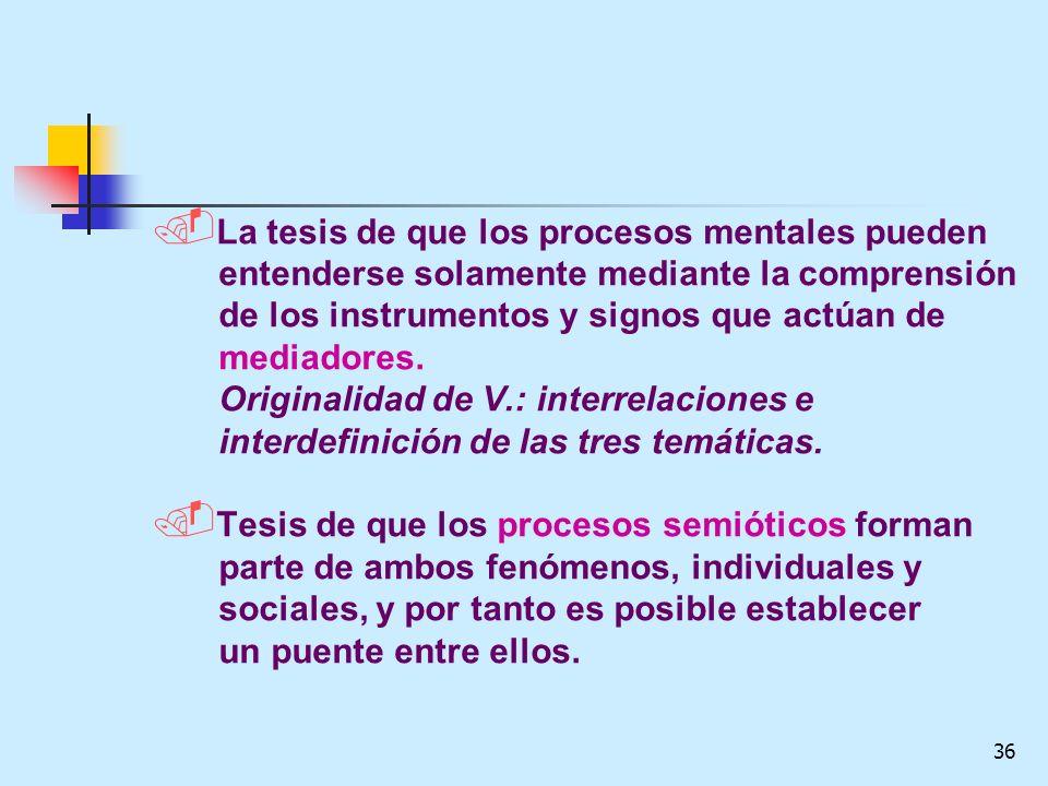 36. La tesis de que los procesos mentales pueden entenderse solamente mediante la comprensión de los instrumentos y signos que actúan de mediadores. O