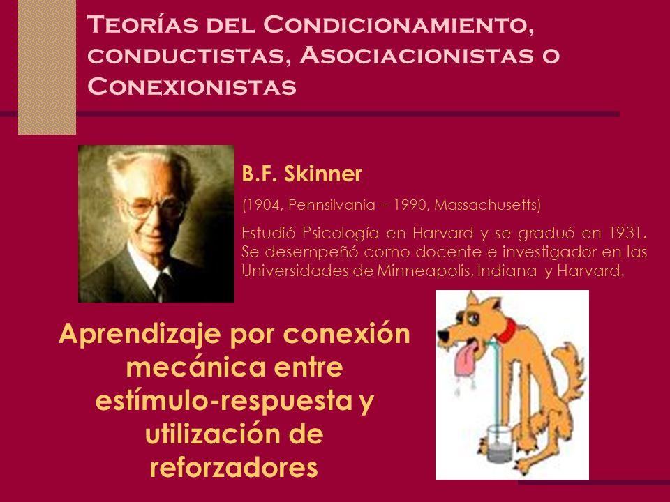 Teorías del Condicionamiento, conductistas, Asociacionistas o Conexionistas B.F. Skinner (1904, Pennsilvania – 1990, Massachusetts) Estudió Psicología