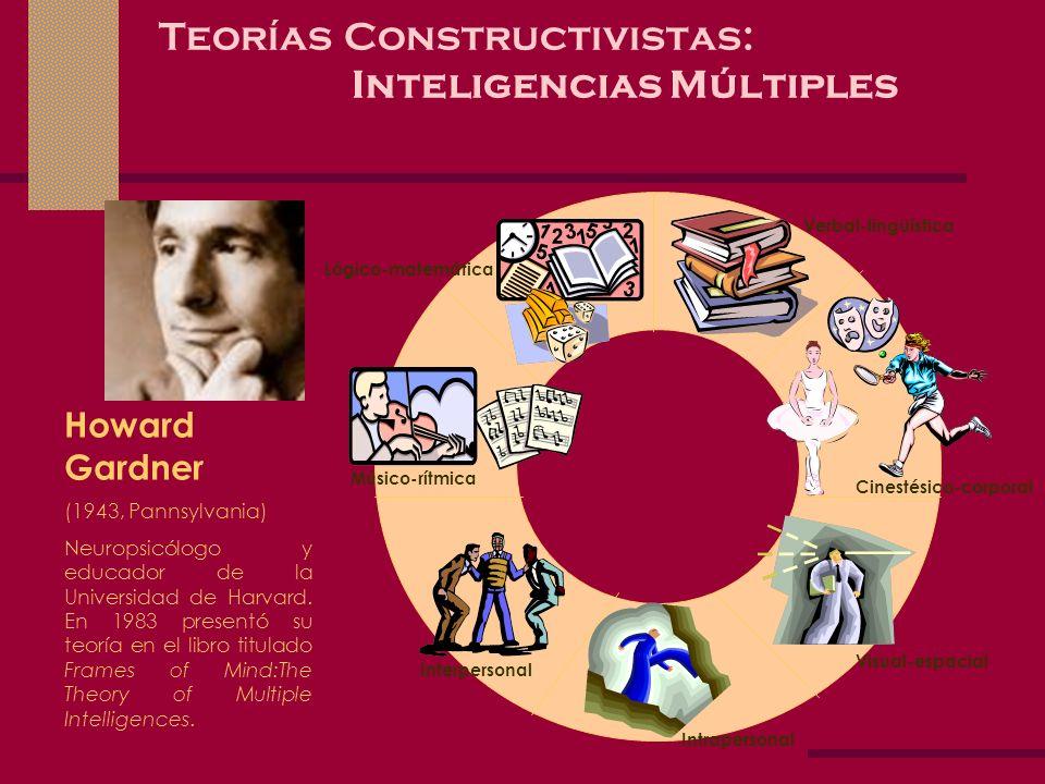 Teorías Constructivistas: Inteligencias Múltiples Howard Gardner (1943, Pannsylvania) Neuropsicólogo y educador de la Universidad de Harvard. En 1983