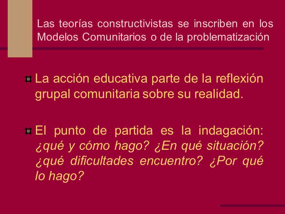 Las teorías constructivistas se inscriben en los Modelos Comunitarios o de la problematización La acción educativa parte de la reflexión grupal comuni