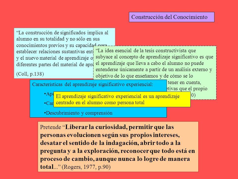 Construcción del Conocimiento La construcción de significados implica al alumno en su totalidad y no sólo en sus conocimientos previos y su capacidad