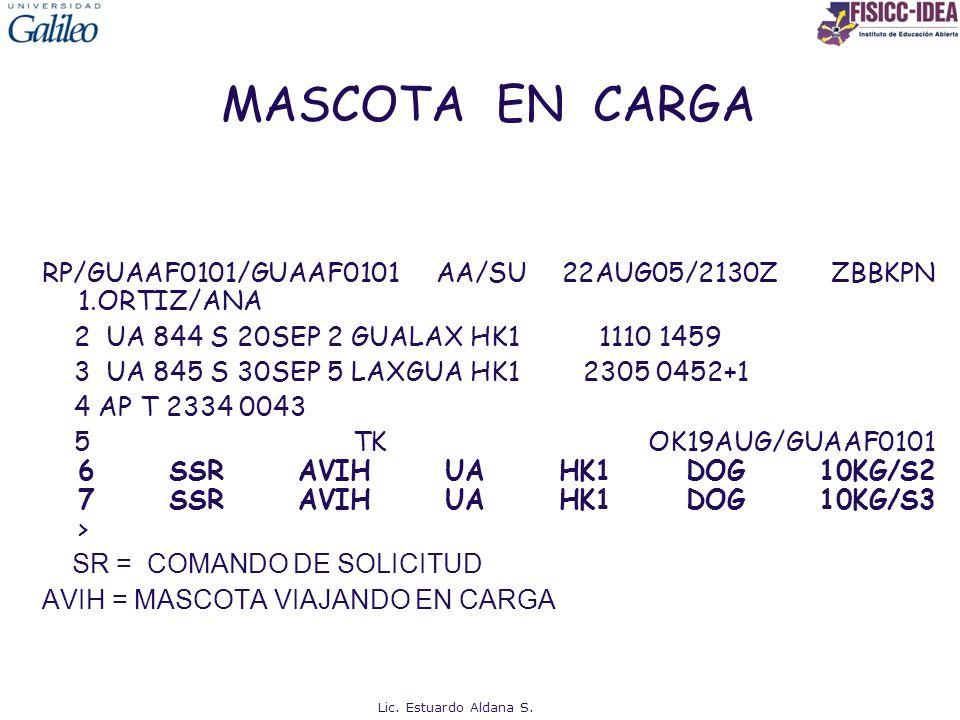 MASCOTA EN CARGA RP/GUAAF0101/GUAAF0101 AA/SU 22AUG05/2130Z ZBBKPN 1.ORTIZ/ANA 2 UA 844 S 20SEP 2 GUALAX HK1 1110 1459 3 UA 845 S 30SEP 5 LAXGUA HK1 2