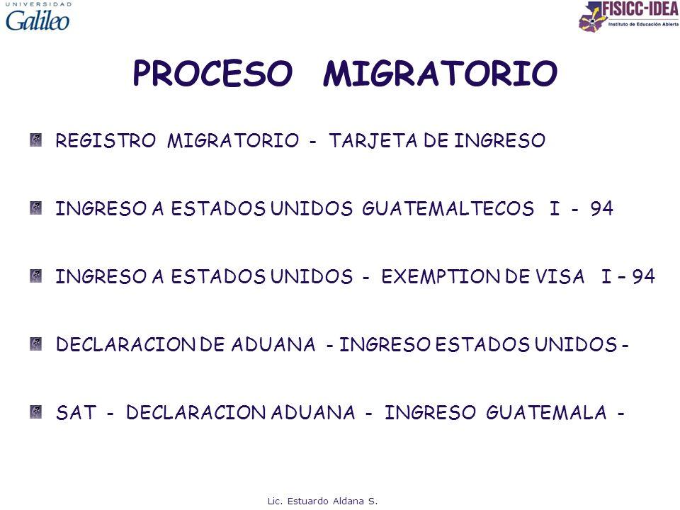 PROCESO MIGRATORIO REGISTRO MIGRATORIO - TARJETA DE INGRESO INGRESO A ESTADOS UNIDOS GUATEMALTECOS I - 94 INGRESO A ESTADOS UNIDOS - EXEMPTION DE VISA