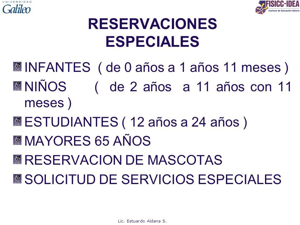 RESERVACIONES ESPECIALES INFANTES ( de 0 años a 1 años 11 meses ) NIÑOS ( de 2 años a 11 años con 11 meses ) ESTUDIANTES ( 12 años a 24 años ) MAYORES