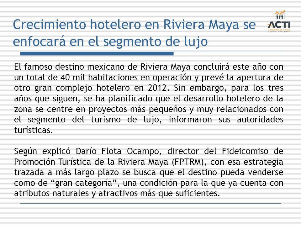 Crecimiento hotelero en Riviera Maya se enfocará en el segmento de lujo El famoso destino mexicano de Riviera Maya concluirá este año con un total de