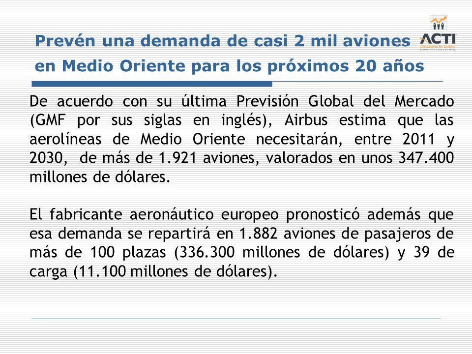 Prevén una demanda de casi 2 mil aviones en Medio Oriente para los próximos 20 años De acuerdo con su última Previsión Global del Mercado (GMF por sus
