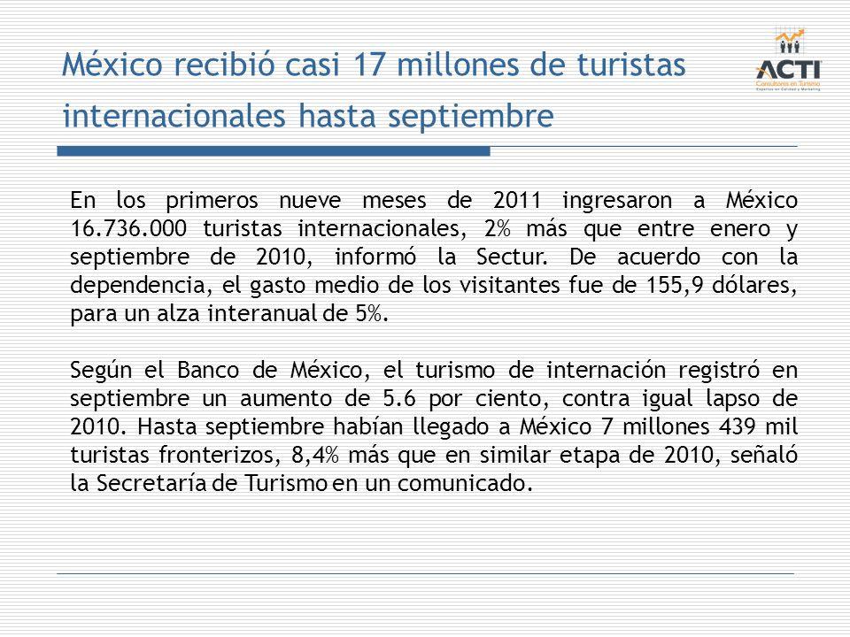 México recibió casi 17 millones de turistas internacionales hasta septiembre En los primeros nueve meses de 2011 ingresaron a México 16.736.000 turist