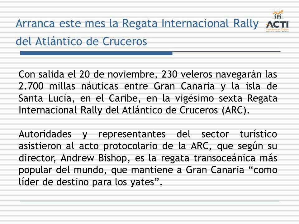 Arranca este mes la Regata Internacional Rally del Atlántico de Cruceros Con salida el 20 de noviembre, 230 veleros navegarán las 2.700 millas náutica