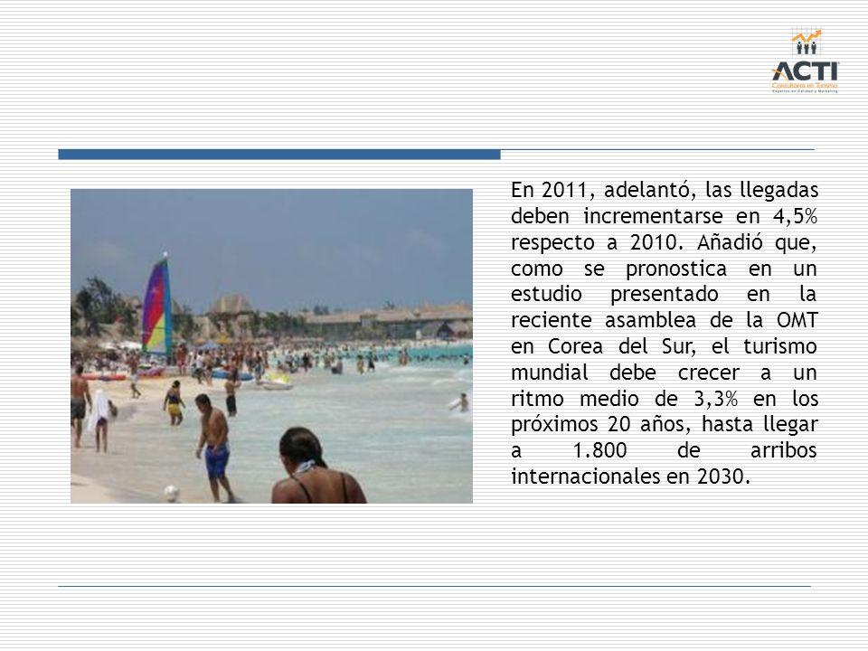 En 2011, adelantó, las llegadas deben incrementarse en 4,5% respecto a 2010. Añadió que, como se pronostica en un estudio presentado en la reciente as