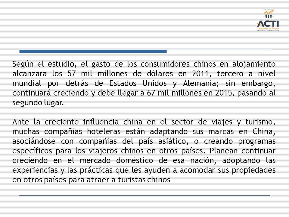 Según el estudio, el gasto de los consumidores chinos en alojamiento alcanzara los 57 mil millones de dólares en 2011, tercero a nivel mundial por det
