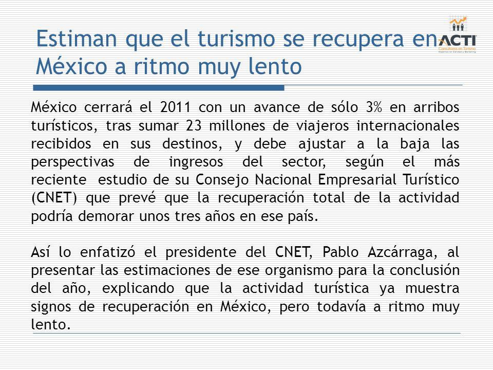 Estiman que el turismo se recupera en México a ritmo muy lento México cerrará el 2011 con un avance de sólo 3% en arribos turísticos, tras sumar 23 mi