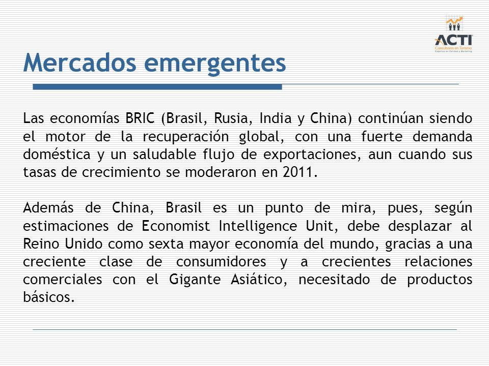Mercados emergentes Las economías BRIC (Brasil, Rusia, India y China) continúan siendo el motor de la recuperación global, con una fuerte demanda domé