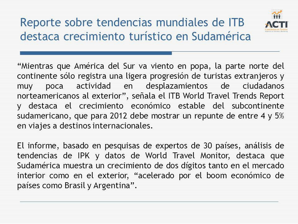 Reporte sobre tendencias mundiales de ITB destaca crecimiento turístico en Sudamérica Mientras que América del Sur va viento en popa, la parte norte d