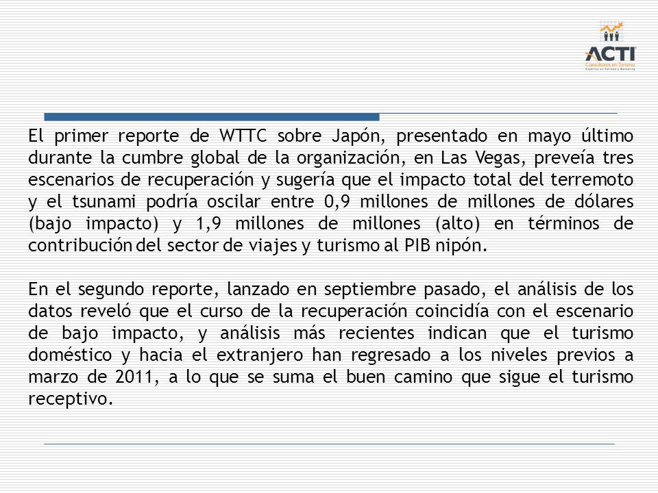 El primer reporte de WTTC sobre Japón, presentado en mayo último durante la cumbre global de la organización, en Las Vegas, preveía tres escenarios de