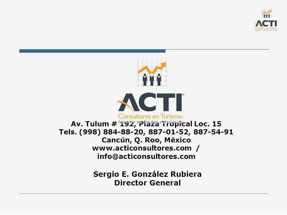 Av. Tulum # 192, Plaza Tropical Loc. 15 Tels. (998) 884-88-20, 887-01-52, 887-54-91 Cancún, Q. Roo, México www.acticonsultores.com / info@acticonsulto