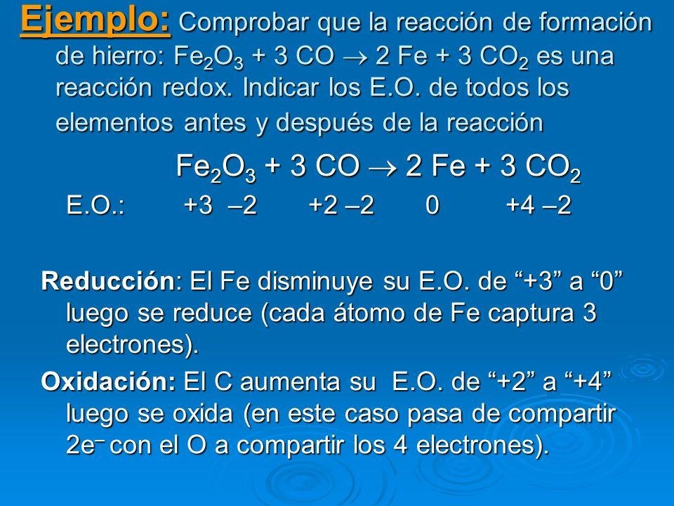 Ejemplo: Comprobar que la reacción de formación de hierro: Fe 2 O 3 + 3 CO 2 Fe + 3 CO 2 es una reacción redox. Indicar los E.O. de todos los elemento