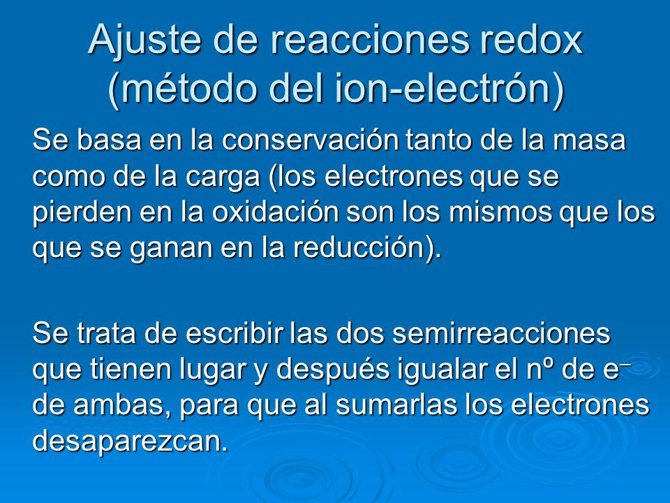 Ajuste de reacciones redox (método del ion-electrón) Se basa en la conservación tanto de la masa como de la carga (los electrones que se pierden en la
