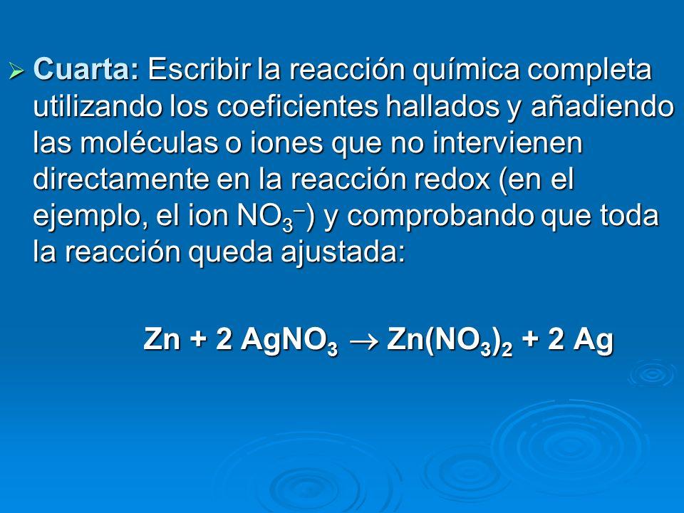 Cuarta: Escribir la reacción química completa utilizando los coeficientes hallados y añadiendo las moléculas o iones que no intervienen directamente e