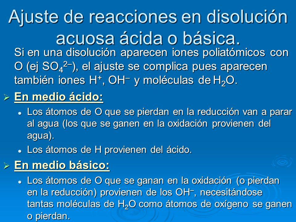 Ajuste de reacciones en disolución acuosa ácida o básica. Si en una disolución aparecen iones poliatómicos con O (ej SO 4 2– ), el ajuste se complica