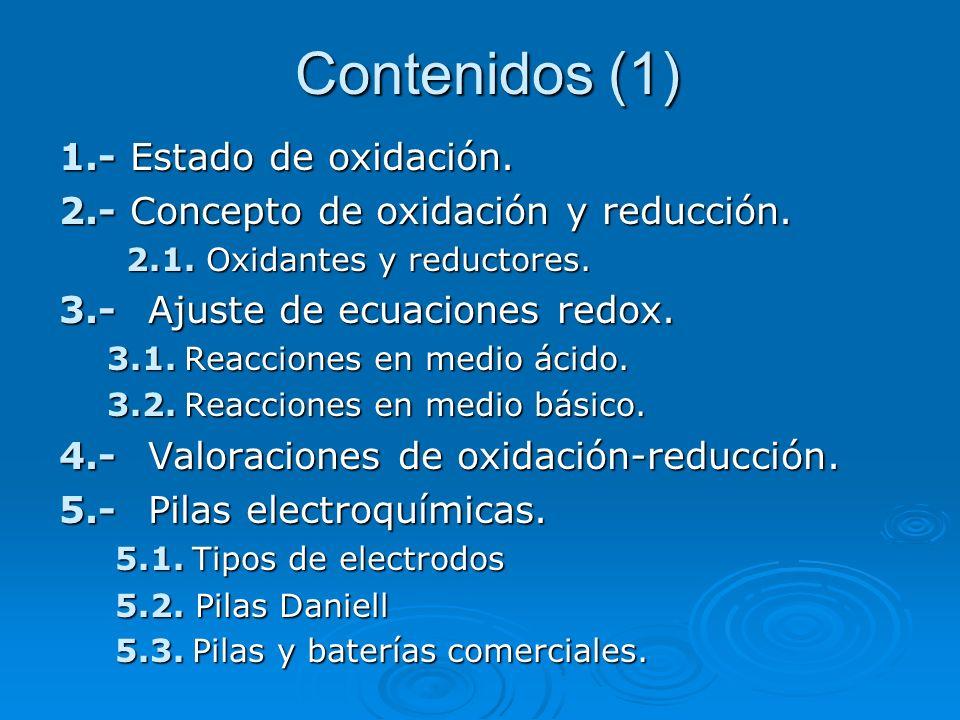 Contenidos (1) 1.- Estado de oxidación. 2.- Concepto de oxidación y reducción. 2.1. Oxidantes y reductores. 2.1. Oxidantes y reductores. 3.- Ajuste de