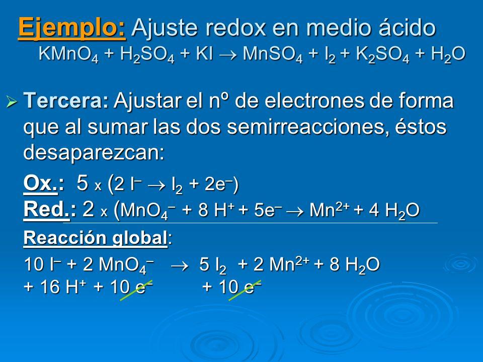 Ejemplo: Ajuste redox en medio ácido KMnO 4 + H 2 SO 4 + KI MnSO 4 + I 2 + K 2 SO 4 + H 2 O Tercera: Ajustar el nº de electrones de forma que al sumar