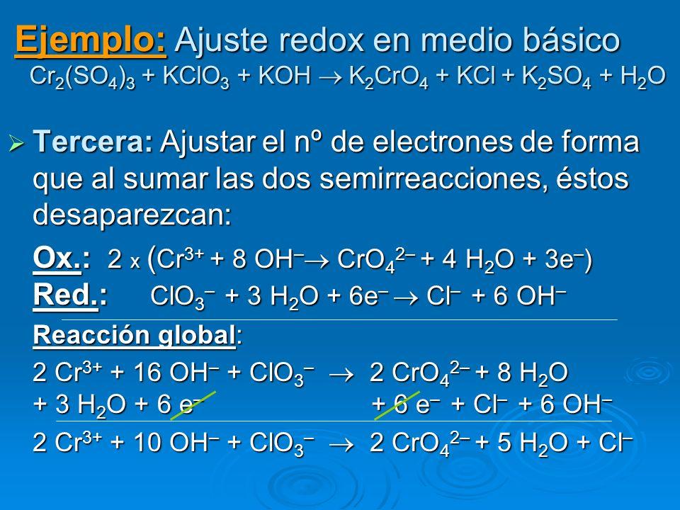Ejemplo: Ajuste redox en medio básico Cr 2 (SO 4 ) 3 + KClO 3 + KOH K 2 CrO 4 + KCl + K 2 SO 4 + H 2 O Tercera: Ajustar el nº de electrones de forma q