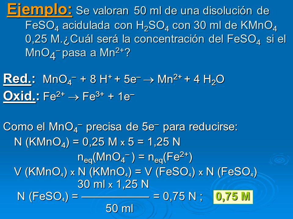 Ejemplo: Se valoran 50 ml de una disolución de FeSO 4 aciduladacon H 2 SO 4 con 30 ml de KMnO 4 0,25 M.¿Cuál será la concentración del FeSO 4 si el Mn