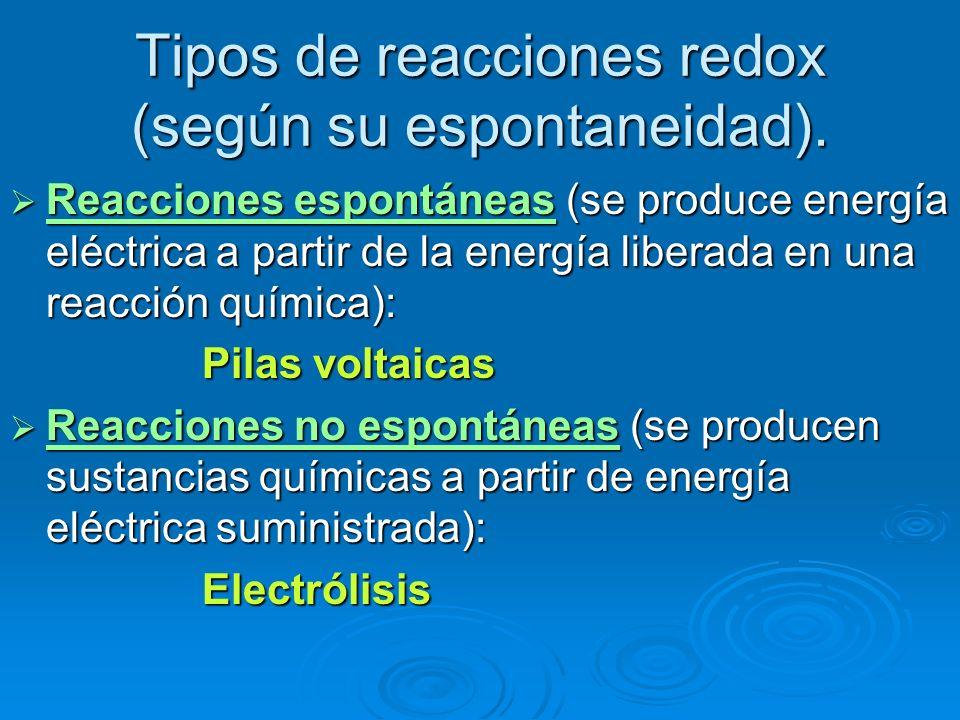 Tipos de reacciones redox (según su espontaneidad). Reacciones espontáneas (se produce energía eléctrica a partir de la energía liberada en una reacci