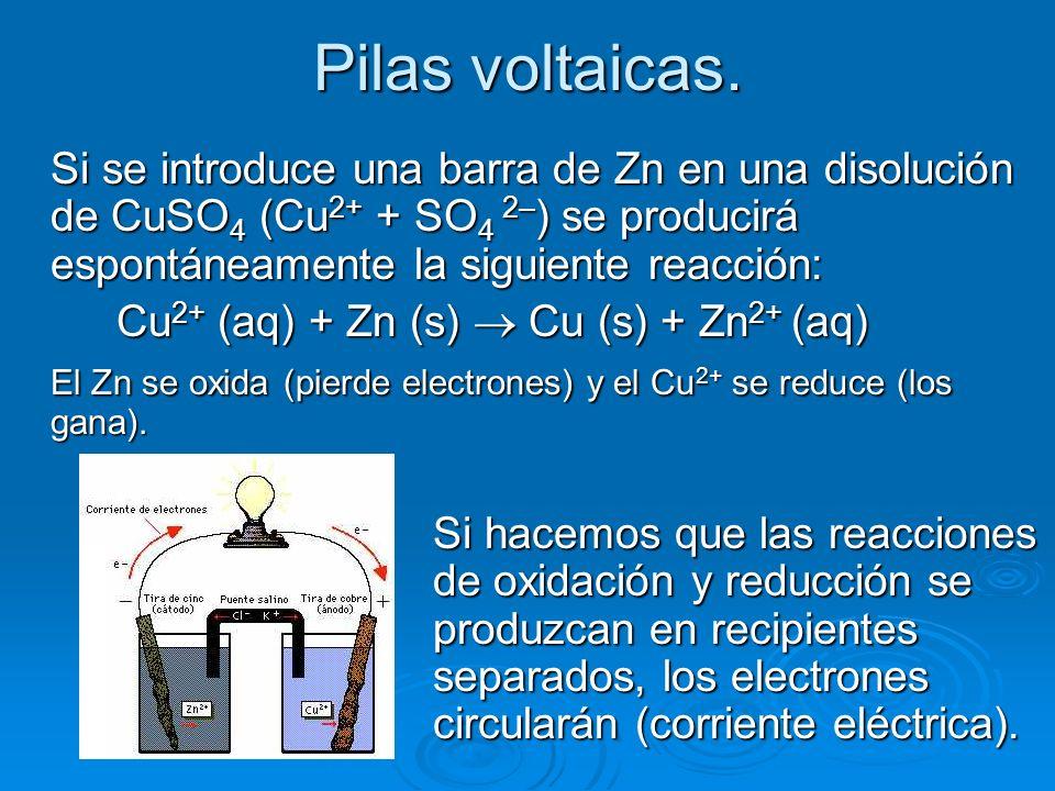Pilas voltaicas. Si se introduce una barra de Zn en una disolución de CuSO 4 (Cu 2+ + SO 4 2– ) se producirá espontáneamente la siguiente reacción: Cu