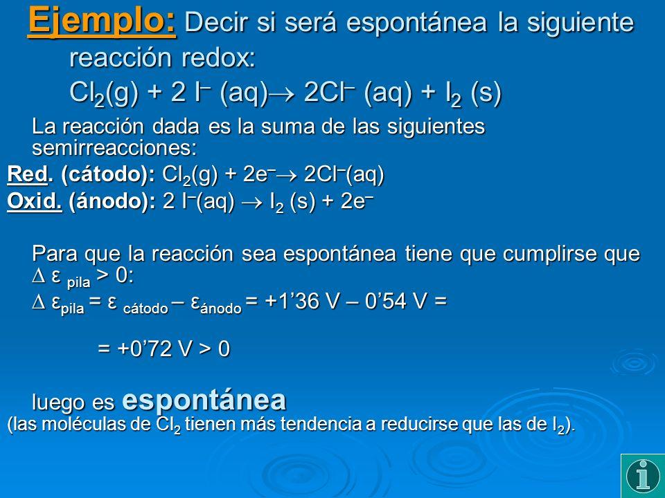 Ejemplo: Decir si será espontánea la siguiente reacción redox: Cl 2 (g) + 2 I – (aq) 2Cl – (aq) + I 2 (s) La reacción dada es la suma de las siguiente