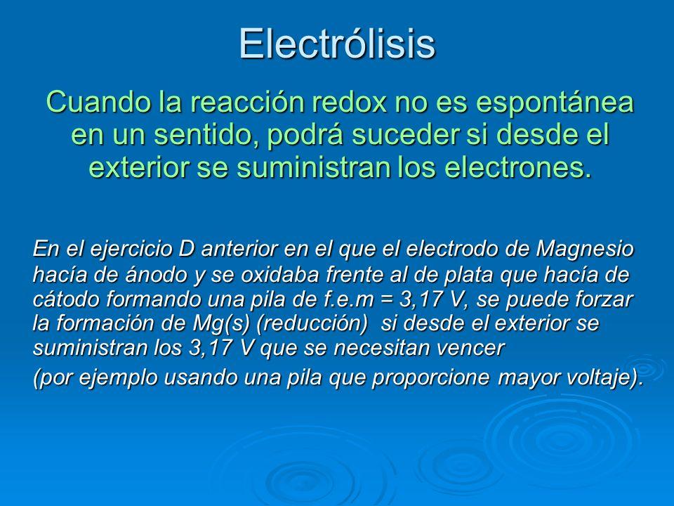 Electrólisis Cuando la reacción redox no es espontánea en un sentido, podrá suceder si desde el exterior se suministran los electrones. En el ejercici
