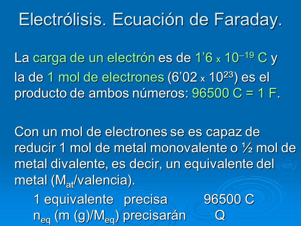 Electrólisis. Ecuación de Faraday. La carga de un electrón es de 16 x 10 –19 C y la de 1 mol de electrones (602 x 10 23 ) es el producto de ambos núme