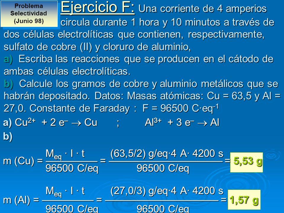 Ejercicio F: Una corriente de 4 amperios circula durante 1 hora y 10 minutos a través de dos células electrolíticas que contienen, respectivamente, su