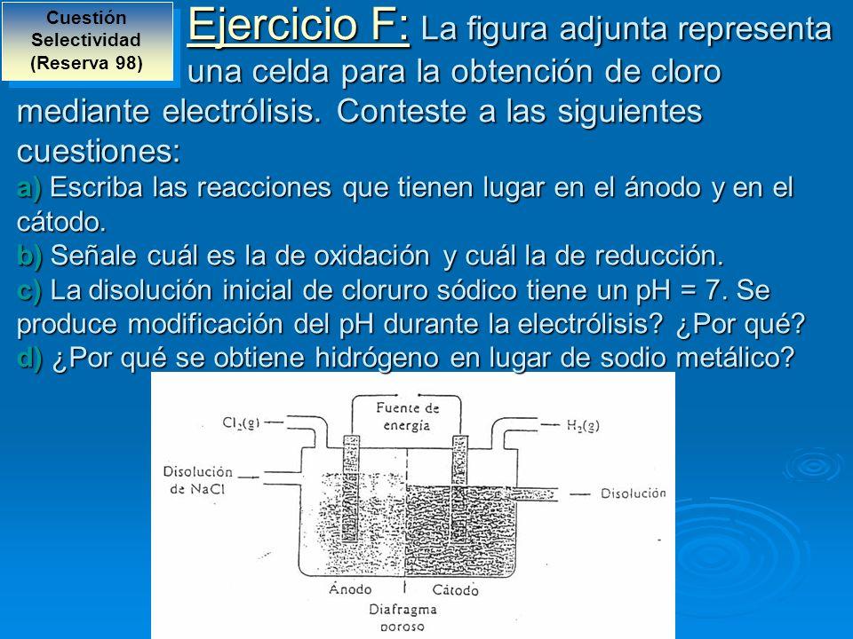 Ejercicio F: La figura adjunta representa una celda para la obtención de cloro mediante electrólisis. Conteste a las siguientes cuestiones: a) Escriba