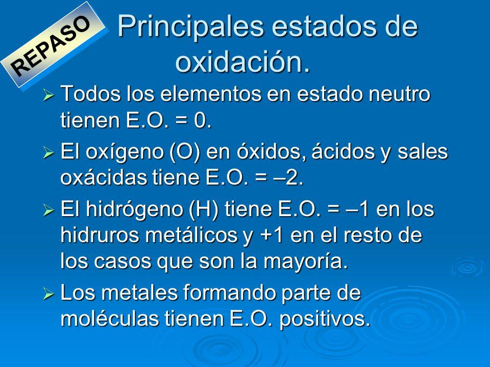 Principales estados de oxidación. Todos los elementos en estado neutro tienen E.O. = 0. Todos los elementos en estado neutro tienen E.O. = 0. El oxíge