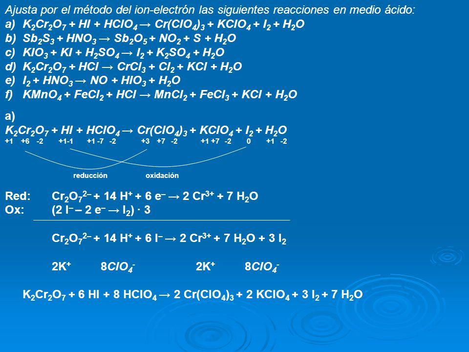 Ajusta por el método del ion-electrón las siguientes reacciones en medio ácido: a)K 2 Cr 2 O 7 + HI + HClO 4 Cr(ClO 4 ) 3 + KClO 4 + I 2 + H 2 O b)Sb