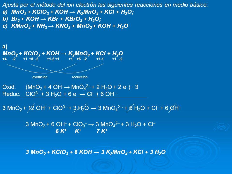Ajusta por el método del ion electrón las siguientes reacciones en medio básico: a)MnO 2 + KClO 3 + KOH K 2 MnO 4 + KCl + H 2 O; b)Br 2 + KOH KBr + KB